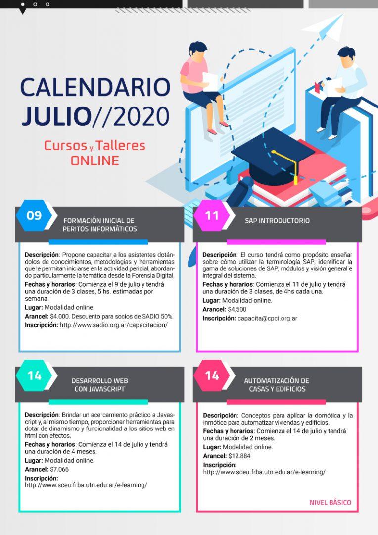 Calendario de cursos en Julio pag1- Neurona BA