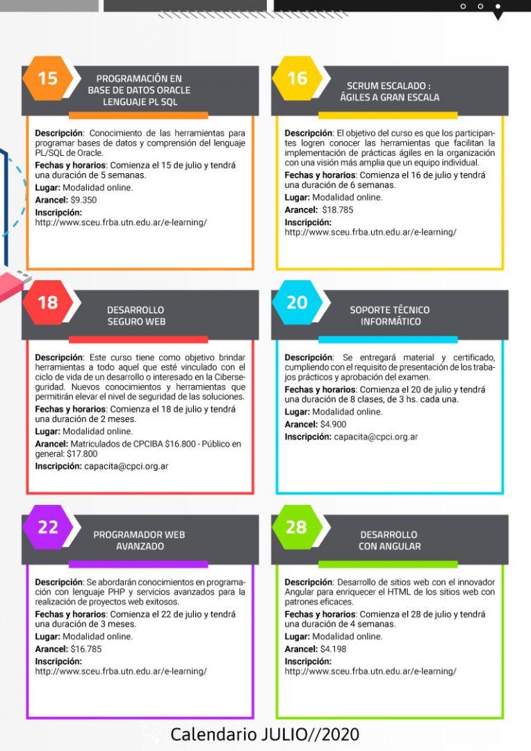 Calendario de cursos en Julio pag2- Neurona BA